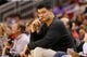 Nov 16, 2013; Houston, TX, USA; Houston Rockets former center Yao Ming watches a game during the second half against the Denver Nuggets at Toyota Center. The Rockets won 122-111. Mandatory Credit: Soobum Im-USA TODAY Sports