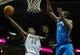 Nov 16, 2013; Milwaukee, WI, USA;   Milwaukee Bucks guard O.J. Mayo (00) shoots a basket against Oklahoma City Thunder forward Serge Ibaka (9) in the 3rd quarter at BMO Harris Bradley Center. Mandatory Credit: Benny Sieu-USA TODAY Sports