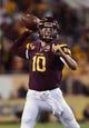 Nov 16, 2013; Tempe, AZ, USA; Arizona State Sun Devils quarterback Taylor Kelly (10) makes a pass against the Oregon State Beavers in the first half at Sun Devil Stadium. Mandatory Credit: Jennifer Stewart-USA TODAY Sports