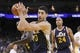 Nov 16, 2013; Oakland, CA, USA; Utah Jazz center Enes Kanter (0) holds onto a rebound against the Golden State Warriors in the second quarter at Oracle Arena. Mandatory Credit: Cary Edmondson-USA TODAY Sports