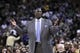 Nov 16, 2013; Oakland, CA, USA; Utah Jazz head coach Tyrone Corbin reacts to a foul call during action against the Golden State Warriors in the second quarter at Oracle Arena. Mandatory Credit: Cary Edmondson-USA TODAY Sports