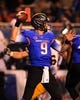 Nov 16, 2013; Boise, ID, USA; Boise State Broncos quarterback Grant Hedrick (9) sets up to throw a pass down field during the first half against the Wyoming Cowboys at Bronco Stadium. Mandatory Credit: Brian Losness-USA TODAY Sports