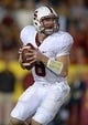 Nov 16, 2013; Los Angeles, CA, USA; Stanford Cardinal quarterback Kevin Hogan (8) throws a pass against the Southern California Trojans at Los Angeles Memorial Coliseum. USC defeated Stanford 20-17. Mandatory Credit: Kirby Lee-USA TODAY Sports
