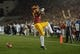 Nov 16, 2013; Los Angeles, CA, USA; Southern California Trojans tailback Javorius Allen (37) celebrates after scoring on a one-yard touchdown run in the first quarter against the Stanford Cardinal at Los Angeles Memorial Coliseum. Mandatory Credit: Kirby Lee-USA TODAY Sports