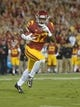 Nov 16, 2013; Los Angeles, CA, USA; Southern California Trojans tailback Javorius Allen (37) scores on a 1-yard touchdown run in the first quarter against the Stanford Cardinal at Los Angeles Memorial Coliseum. Mandatory Credit: Kirby Lee-USA TODAY Sports