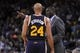 Nov 16, 2013; Oakland, CA, USA; Utah Jazz head coach Tyrone Corbin talks with forward Richard Jefferson (24) during a break against the Golden State Warriors in the third quarter at Oracle Arena. The Warriors defeated the Jazz 102-88. Mandatory Credit: Cary Edmondson-USA TODAY Sports
