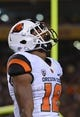 Nov 16, 2013; Tempe, AZ, USA; Oregon State Beavers wide receiver Malik Gilmore (18) reacts on the field in the first half of the game against Arizona State Sun Devils at Sun Devil Stadium. The Devils defeated the Beavers 30-17. Mandatory Credit: Jennifer Stewart-USA TODAY Sports