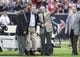 Nov 17, 2013; Houston, TX, USA; Former Presidents George H.W. Bush and George W. Bush wave to the crowd before a game between the Houston Texans and the Oakland Raiders at Reliant Stadium. The Raiders defeated the Texans 28-23. Mandatory Credit: Troy Taormina-USA TODAY Sports
