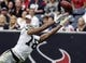 Nov 17, 2013; Houston, TX, USA; Oakland Raiders wide receiver Andre Holmes (18) attempts to make a reception during the third quarter against the Houston Texans at Reliant Stadium. The Raiders defeated the Texans 28-23. Mandatory Credit: Troy Taormina-USA TODAY Sports