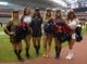 Nov 17, 2013; Houston, TX, USA; Houston Texans cheerleaders pose in military costumes as part of Salute to Service month festivities during the game against the Oakland Raiders at Reliant Stadium. Mandatory Credit: Kirby Lee-USA TODAY Sports