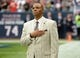 Nov 17, 2013; Houston, TX, USA; Houston Texans general manager Rick Smith observes the playing of the national anthem before the game against the Oakland Raiders at Reliant Stadium. Mandatory Credit: Kirby Lee-USA TODAY Sports