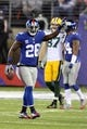 Nov 17, 2013; East Rutherford, NJ, USA; New York Giants safety Antrel Rolle (26) reacts after his interception against the Green Bay Packers during the fourth quarter of a game at MetLife Stadium. Mandatory Credit: Brad Penner-USA TODAY Sports