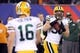 Nov 17, 2013; East Rutherford, NJ, USA; Green Bay Packers fullback John Kuhn (30) receives a pass from Green Bay Packers quarterback Scott Tolzien (16) against the New York Giants during the fourth quarter of a game at MetLife Stadium. Mandatory Credit: Brad Penner-USA TODAY Sports