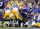 Nov 17, 2013; East Rutherford, NJ, USA; New York Giants running back Andre Brown (35) is stopped short of the goal line by the Green Bay Packers during the third quarter of a game at MetLife Stadium. Mandatory Credit: Brad Penner-USA TODAY Sports