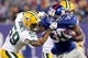Nov 17, 2013; East Rutherford, NJ, USA; New York Giants running back Andre Brown (35) is tackled by Green Bay Packers linebacker Brad Jones (59) during the second quarter of a game at MetLife Stadium. Mandatory Credit: Brad Penner-USA TODAY Sports