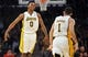 November 17, 2013; Los Angeles, CA, USA; Los Angeles Lakers small forward Nick Young (0) reacts after point guard Jordan Farmar (1) scores a three point basket against the Detroit Pistons during the second half at Staples Center. Mandatory Credit: Gary A. Vasquez-USA TODAY Sports