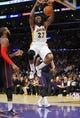 November 17, 2013; Los Angeles, CA, USA; Los Angeles Lakers center Jordan Hill (27) dunks to score a basket against the Detroit Pistons during the second half at Staples Center. Mandatory Credit: Gary A. Vasquez-USA TODAY Sports