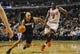 Nov 18, 2013; Chicago, IL, USA; Charlotte Bobcats shooting guard Gerald Henderson (9) drives with the ball against Chicago Bulls small forward Luol Deng (9) during the second quarter of their game at the United Center. Mandatory Credit: Matt Marton-USA TODAY Sports