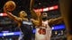 Nov 18, 2013; Chicago, IL, USA; Charlotte Bobcats point guard Ramon Sessions (7) shoots the ball against Chicago Bulls center Nazr Mohammed (48) during the second quarter of their game against the Chicago Bulls at the United Center. Mandatory Credit: Matt Marton-USA TODAY Sports