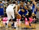 Nov 18, 2013; Salt Lake City, UT, USA; Utah Jazz shooting guard Gordon Hayward (20) dribbles the ball as Golden State Warriors small forward Andre Iguodala (9) defends during the second quarter at EnergySolutions Arena. Mandatory Credit: Chris Nicoll-USA TODAY Sports