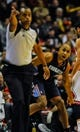 Nov 18, 2013; Chicago, IL, USA; Charlotte Bobcats shooting guard Gerald Henderson (9) yells at a foul call during the second half of their game against the Chicago Bulls at the United Center. The Bulls won 86-81. Mandatory Credit: Matt Marton-USA TODAY Sports
