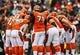 Nov 17, 2013; Cincinnati, OH, USA; Cincinnati Bengals offense huddles during the game against the Cleveland Browns at Paul Brown Stadium. Cincinnati won 41-20.  Mandatory Credit: Kevin Jairaj-USA TODAY Sports