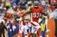 Nov 17, 2013; Cincinnati, OH, USA; Cincinnati Bengals defensive end Michael Johnson (93) reacts during the game against the Cleveland Browns at Paul Brown Stadium. Cincinnati won 41-20.  Mandatory Credit: Kevin Jairaj-USA TODAY Sports