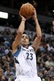 Nov 20, 2013; Minneapolis, MN, USA; Minnesota Timberwolves guard Kevin Martin (23) shoots during the third quarter against the Los Angeles Clippers at Target Center. The Clippers defeated the Timberwolves 102-98. Mandatory Credit: Brace Hemmelgarn-USA TODAY Sports