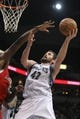 Nov 20, 2013; Minneapolis, MN, USA; Minnesota Timberwolves forward Kevin Love (42) shoots during the third quarter against the Los Angeles Clippers at Target Center. The Clippers defeated the Timberwolves 102-98. Mandatory Credit: Brace Hemmelgarn-USA TODAY Sports