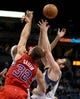 Nov 20, 2013; Minneapolis, MN, USA; Minnesota Timberwolves forward Kevin Love (42) and Los Angeles Clippers forward Blake Griffin (32) attempt to grab rebound during the third quarter at Target Center. The Clippers defeated the Timberwolves 102-98. Mandatory Credit: Brace Hemmelgarn-USA TODAY Sports