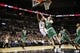 Nov 20, 2013; San Antonio, TX, USA; San Antonio Spurs guard Tony Parker (9) drives to the basket under pressure from Boston Celtics center Kelly Olynyk (41) during the second half at AT&T Center. The Spurs won 104-93. Mandatory Credit: Soobum Im-USA TODAY Sports