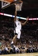 Nov 20, 2013; San Antonio, TX, USA; San Antonio Spurs forward Kawhi Leonard (2) drives to the basket during the second half against the Boston Celtics at AT&T Center. The Spurs won 104-93. Mandatory Credit: Soobum Im-USA TODAY Sports