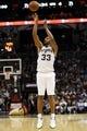 Nov 20, 2013; San Antonio, TX, USA; San Antonio Spurs forward Boris Diaw (33) shoots during the second half against the Boston Celtics at AT&T Center. The Spurs won 104-93. Mandatory Credit: Soobum Im-USA TODAY Sports