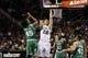 Nov 20, 2013; San Antonio, TX, USA; San Antonio Spurs forward Tiago Splitter (22) drives to the basket past Boston Celtics forward Gerald Wallace (45) during the second half at AT&T Center. The Spurs won 104-93. Mandatory Credit: Soobum Im-USA TODAY Sports