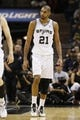 Nov 20, 2013; San Antonio, TX, USA; San Antonio Spurs forward Tim Duncan (21) reacts after receiving a technical foul during the second half against the Boston Celtics at AT&T Center. The Spurs won 104-93. Mandatory Credit: Soobum Im-USA TODAY Sports