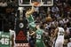Nov 20, 2013; San Antonio, TX, USA; Boston Celtics forward Kris Humphries (43) dunks during the second half against the San Antonio Spurs at AT&T Center. The Spurs won 104-93. Mandatory Credit: Soobum Im-USA TODAY Sports
