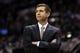 Nov 20, 2013; San Antonio, TX, USA; Boston Celtics head coach Brad Stevens watches the action during the first half against the San Antonio Spurs at AT&T Center. Mandatory Credit: Soobum Im-USA TODAY Sports