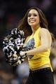 Nov 20, 2013; San Antonio, TX, USA; San Antonio Spurs cheerleader performs during the first half against the Boston Celtics at AT&T Center. Mandatory Credit: Soobum Im-USA TODAY Sports