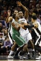 Nov 20, 2013; San Antonio, TX, USA; San Antonio Spurs guard Danny Green (far right) tries to strip the ball from Boston Celtics guard Jeff Green (8) during the second half at AT&T Center. The Spurs won 104-93. Mandatory Credit: Soobum Im-USA TODAY Sports