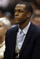 Nov 20, 2013; San Antonio, TX, USA; Boston Celtics guard Rajon Rondo (9) watches the action from the bench during the first half against the San Antonio Spurs at AT&T Center. Mandatory Credit: Soobum Im-USA TODAY Sports