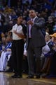 November 20, 2013; Oakland, CA, USA; Golden State Warriors head coach Mark Jackson (right) argues with NBA referee Violet Palmer (12, left) against the Memphis Grizzlies during overtime at Oracle Arena. The Grizzlies defeated the Warriors 88-81 in overtime. Mandatory Credit: Kyle Terada-USA TODAY Sports