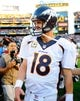 Nov 10, 2013; San Diego, CA, USA;Denver Broncos quarterback Peyton Manning (18) after a win against the San Diego Chargers at Qualcomm Stadium. The Broncos won 28-20. Mandatory Credit: Christopher Hanewinckel-USA TODAY Sports