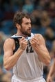 Nov 13, 2013; Minneapolis, MN, USA; Minnesota Timberwolves power forward Kevin Love (42) talks to the referee in the second quarter against the Cleveland Cavaliers at Target Center. The Minnesota Timberwolves win 124-95. Mandatory Credit: Brad Rempel-USA TODAY Sports.
