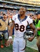 Nov 10, 2013; San Diego, CA, USA; Denver Broncos receiver Demaryius Thomas (88) after a win against the San Diego Chargers at Qualcomm Stadium. The Broncos won 28-20. Mandatory Credit: Christopher Hanewinckel-USA TODAY Sports