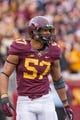 Nov 9, 2013; Minneapolis, MN, USA; Minnesota Gophers linebacker Aaron Hill (57) in the third quarter against the Penn State Nittany Lions at TCF Bank Stadium. Minnesota wins 24-10. Mandatory Credit: Brad Rempel-USA TODAY Sports