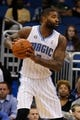 Oct 18, 2013; Orlando, FL, USA; Orlando Magic power forward Kyle O'Quinn (2) against the Memphis Grizzlies during the first half at Amway Center. Mandatory Credit: Kim Klement-USA TODAY Sports