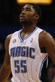Oct 18, 2013; Orlando, FL, USA; Orlando Magic shooting guard E'Twaun Moore (55) against the Memphis Grizzlies during the first half at Amway Center. Mandatory Credit: Kim Klement-USA TODAY Sports