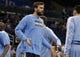 Oct 18, 2013; Orlando, FL, USA; Memphis Grizzlies center Marc Gasol (33) is introduced against the Orlando Magic during the first half at Amway Center. Mandatory Credit: Kim Klement-USA TODAY Sports