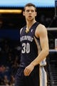 Oct 18, 2013; Orlando, FL, USA; Memphis Grizzlies power forward Jon Leuer (30) against the Orlando Magic during the first half at Amway Center. Mandatory Credit: Kim Klement-USA TODAY Sports