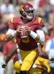 Sep 21, 2013; Los Angeles, CA, USA; Southern California Trojans quarterback Cody Kessler (6) throws a pass during the game against the Utah State Aggies at the Los Angeles Memorial Coliseum. Mandatory Credit: Kirby Lee-USA TODAY Sports